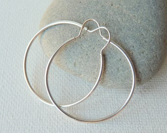 Sterling Silver Hoop Earrings, Vintage 925 Hoops,Vintage Simple Earrings, Vintage Earrings from 70's, Silver Hoops 925, Thin Silver Hoops