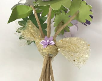 Handmade Paper Flower Arrangment - Wedding, Anniversary, Get well, Thinking of you - Purple and White