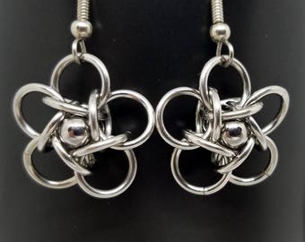 Celtic Rosette 5 Stainless Steel Chainmaille Earrings with Captured Ball Bearings