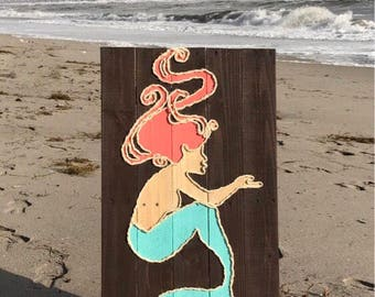 Handmade Mermaid with Rope Beach Pallet Art Coastal Decor Mermaid Art Rope Art Mermaid Rope Art