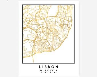 Lisbon Map Coordinates Print - Portugal City Street Map Art Poster, Gold Lisbon Map Print, Lisbon Portugal Coordinates Portuguese Poster Map