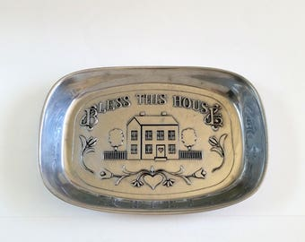 Vintage Pewter Bread Plate | Bread Tray | Bread Warm Holder | Bless This House By Wilton