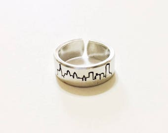Buffalo Ring Hand Stamped Skyline