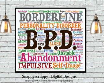 Wellbeing Wordart, BPD Wordart,  Borderline Personality Disorder Wordart, Print Your Own.  Mental Health Issues