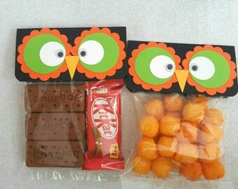 Halloween treat toppers / halloween treat bag toppers / owl bag toppers / halloween party favors / halloween bag toppers / halloween bags