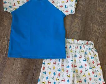 Spring/Summer Organic Red Blue White Bugs Outfit 3M 6M 12M 18M 24M 2T 3T 4T 6 8 10 12 -baby boy- shower - Shorts - Pants - Shirt - Tank