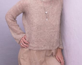 Beige Ultra Soft Silk/Alpaca sweater long sleeve