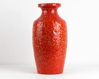 Tall red orange vintage cermic vase by BAY, 70s, west German pottery, Mid Century