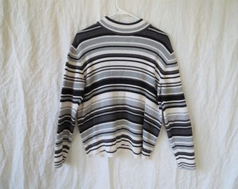 90s Ribbed Black Gray and White Striped Sweater