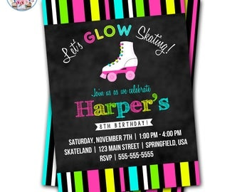 Roller Skating Invitation, Roller Skate Party Invitation, Roller Skate Invite, Editable Roller Skate Invite, Neon Roller Skate, Glow Skating