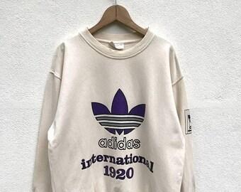 20% OFF Vintage Adidas International Big Logo Sweatshirt / Adidas Trefoil / Adidas Color Block / Adidas Sweater / Hip Hop Swag Streetwear