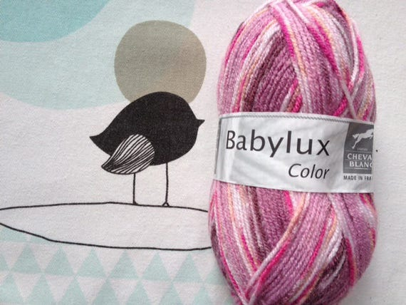 WOOL BABYLUX COLOR Rose mix - white horse