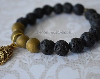 Black Lava Bead with Gold Druzy Stretch Buddha Bracelet (201810B)