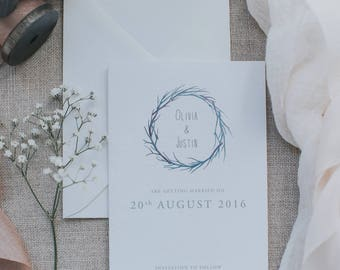 Printed Beautiful and Simple Wedding Save the Date Card. Watercolour Branch Save the Card Cards. Boho Save the Date Card with Envelope