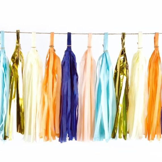 Sand N' Sea Tassels, Tissue Tassels, Tassel Banner, Birthday Party Decor, DIY Tassels, Girl, Wedding Baby Shower Nautical Ocean Beachy