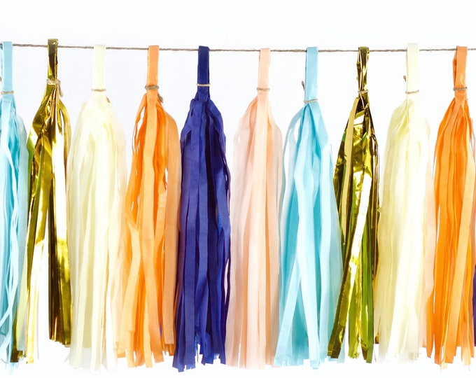 Sand N' Sea Tassels, Tissue Tassels, Tassel Banner, Birthday Party Decor, DIY Tassels, Girl, Wedding Baby Shower Nautical Ocean Beachy