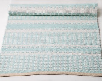 Mint and white nursery rug , cotton rug, baby and kids rug, scandinavian style, loom rag rugs, soft, ecofriendly, READY TO SHIP