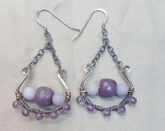 Sterling Silver, Purple Chain Earrings