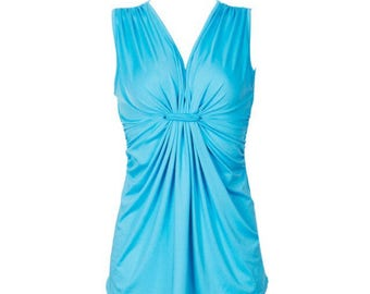 Womens Pretty Blue sleeveless summer time fun Casual top blouse  scrunched middle