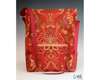 Jacobean floral tote bag in rust