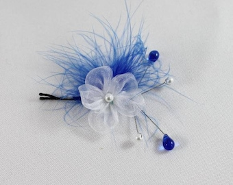 White and blue flower hair clip, wedding