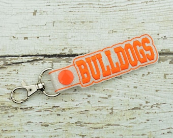 Bulldogs Keychain - Bag Tag - Small Gift - Gift for Her - Thank You Gift - Bag Accessory - Zipper Pull - Team Spirit