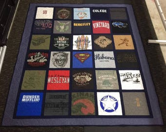 Custom T-shirt Quilt with Sashing and Bordering