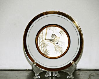 Decorative Bird Plate, 6 Inch, Gold Songbirds, Westland Co, Made in Japan, Sparrow, Warbler, Wren, Bamboo Branches, 1960s, Gilded, Collector