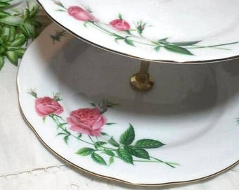 Two Tier Tidbit Tray with Pink Roses Czech Porcelain Cupcake Server Entertaining