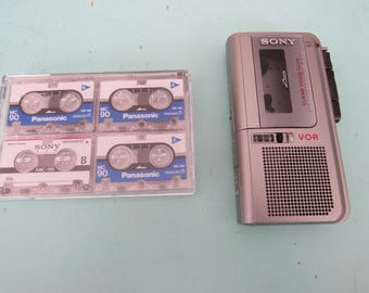 Sony M-570V Microcassette Tape Recorder + 4 Tapes Works Great Free Shipping