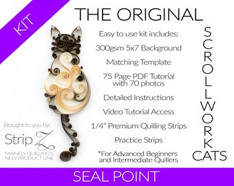 Complete Kit - Seal Point Original Quilled Scrollwork Cat Kit