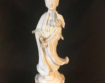 """Chinese Porcelain Dehua Blanc de Chine Kwan Yin or Guanyin Buddhism Figurine Statue 14"""""""