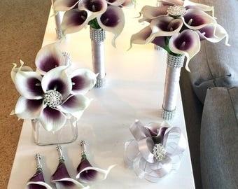 Purple Calla Lily Bouquet, Picasso Purple Bouquet, Real Touch Calla Lily Bouquet, Brooch Bouquet, Bling Bouquet, Calla Lily Bouquet, Wedding
