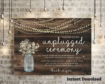 Unplugged Ceremony Sign  - Rustic Baby Breath, Mason Jar, Light, Wood - Printable DIY Wedding Poster - PDF JPG Instant Download Digital File
