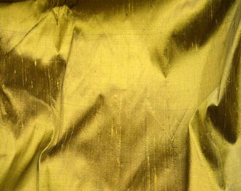 Antique Gold Dupioni Silk Fabric By the Yard Indian Silk fabric, Raw Silk, Silk Fabric for wedding dresses Pure Silk fabric Sewing Crafting