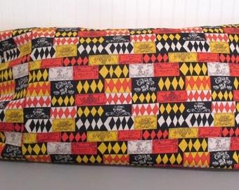 Vintage Upcycled Fabric Novelty Print Harlequin Handmade Pillowcase Standard