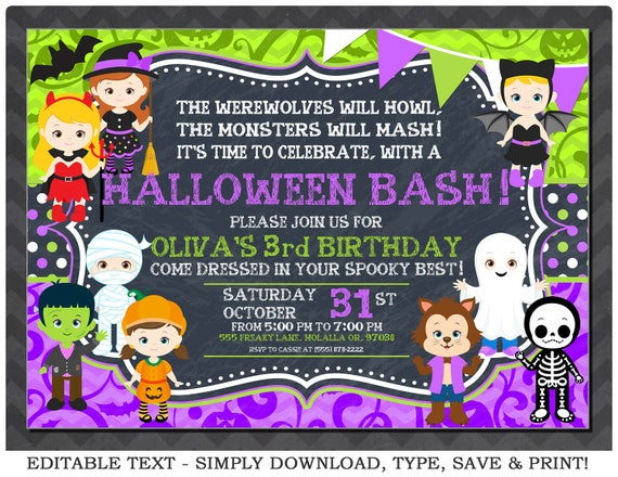 Editable Halloween Invitation Purple Halloween Birthday - Halloween birthday invitations party