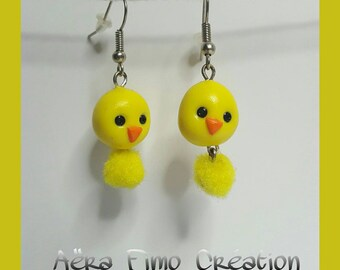 "Earrings in polymer clay ""Little yellow chick"""