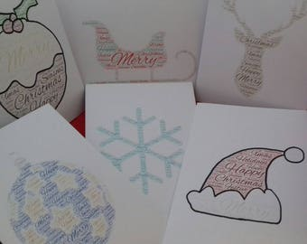 Christmas Card Mulitpack, Box Cards For Xmas, Word Cloud Card, Blank Seasonal Card For Friends, Family Christmas Cards, Merry Christmas Set