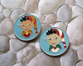20% Off Sale Vintage Cartoon Characters Pins, Burattino Pins, Golden Key Fairy Tale, Pinocchio Pins