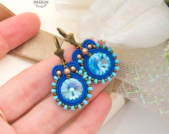 Dangle Earrings Birthday Gift For Her Blue Earrings Royal Blue Earrings Swarovski Earrings Crystal Earrings Soutache Earrings