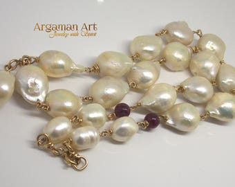 Huge Pearls Necklace , Pearl Bridal Necklace ,Unique Bridal Pearl , mam Pearl Necklace ,Big pearls  for amazing woman , Special piece