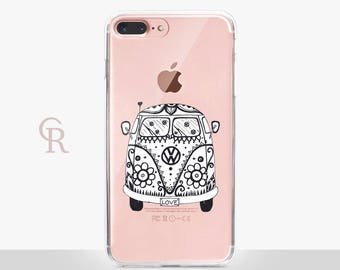 VW Bus iPhone 6 Case - Clear Case - For iPhone 8 - iPhone X - iPhone 7 Plus - iPhone 6 - iPhone 6S - iPhone SE Transparent - Samsung S8 Plus