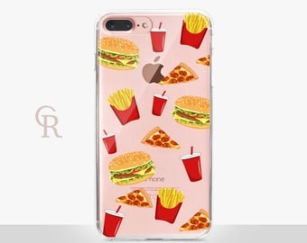 Fast Food Clear Phone Case - Clear Case-For iPhone 8, 8 Plus, X, iPhone 7 Plus, 7, SE, 5, 6S Plus, 6S,6 Plus, Samsung S8,S8 Plus,Transparent