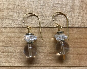 Glass wedge earrings