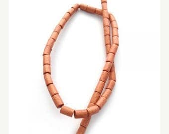 SALE 15% OFF Light brown wood beads, 8 mm, tubes, 1 strand, 48 St