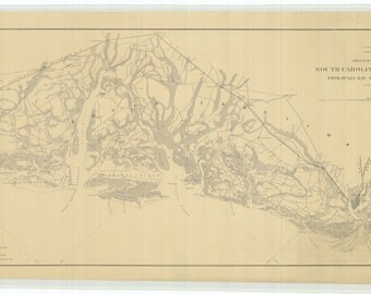 South Carolina and Georgia Map - Bull's Bay to Ossabaw Sound - Historical Chart 1863