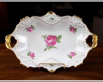 Rare Vintage German Bavaria Alboth Kaiser Rose Pattern White Gold Trim Tray