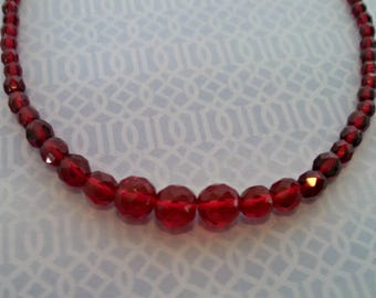 Vintage Necklace, Ruby Red Graduated Glass Beads, Spring Clasp, Mid Century Style, Circa 1970s, Includes Gift Box