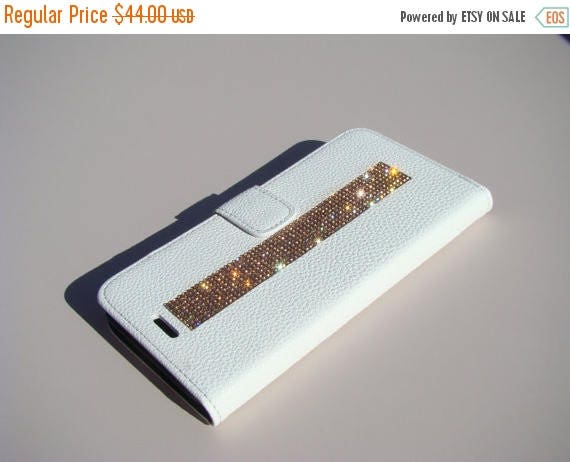 Sale iPhone 7 Plus Case Rose Gold Rhinestone Crystals on White Wallet Case. Velvet/Silk Pouch bag Included, Genuine Rangsee Crystal Cases.